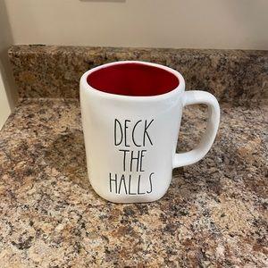 Rae Dunn White with red inside Deck The Halls Christmas mug